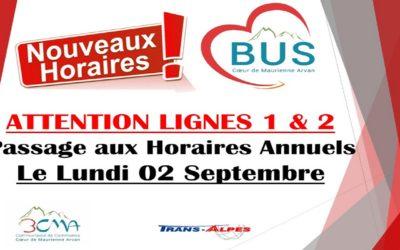 Nouveaux horaires des lignes 1 & 2 à partir du 2 septembre 2019