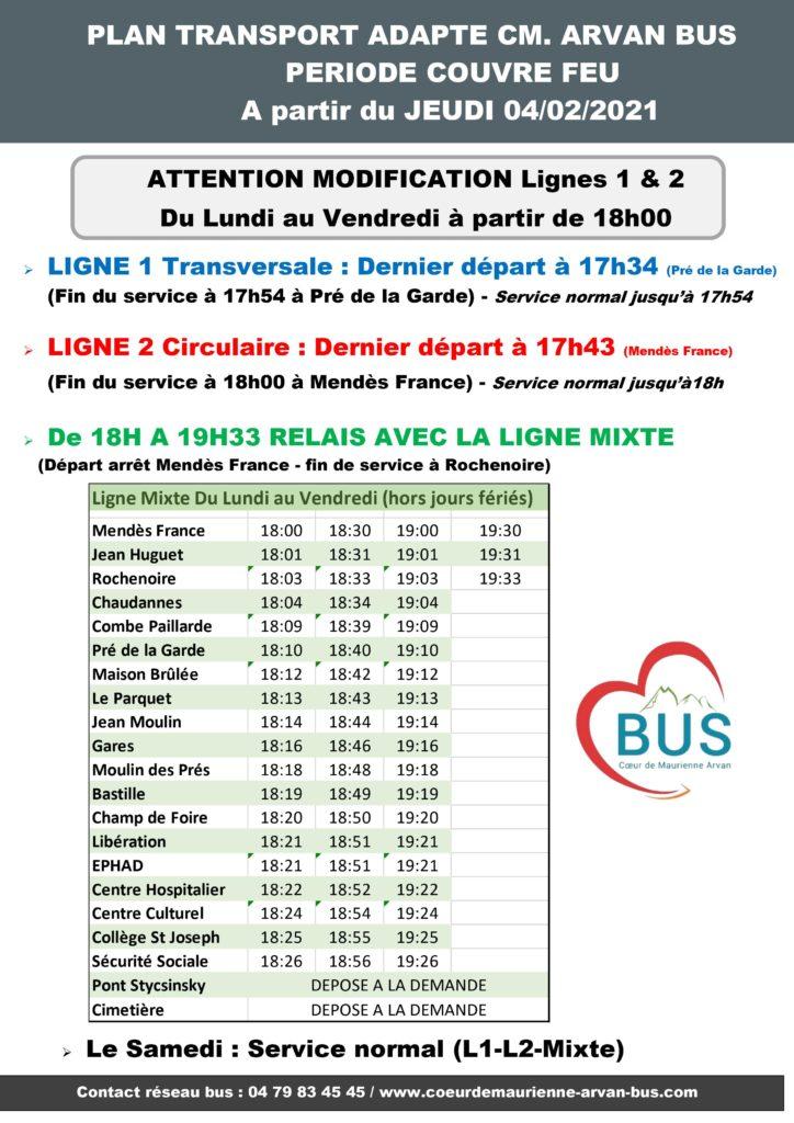 Couvre feu Coeur de Maurienne Arvan Bus